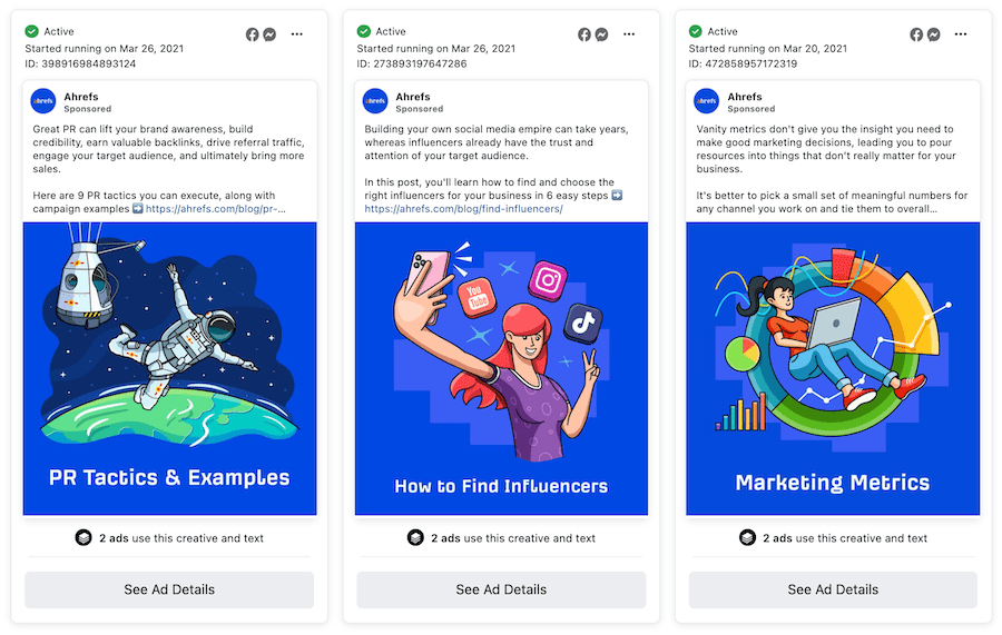 ahrefs external landing page views URL examples