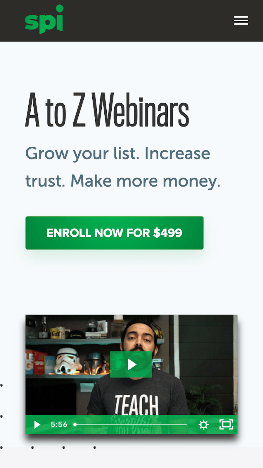 spi a to z webinars mobile sales page with video