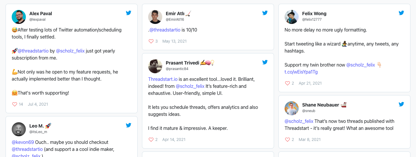 threadstart.io wall of love from twitter bottom placement of website